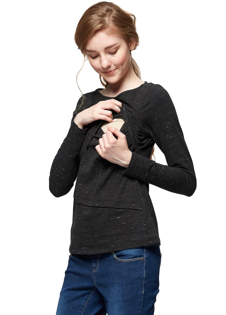 大理石紋剪接孕哺上衣