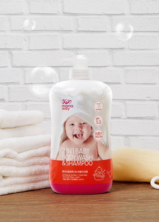 嬰兒抗菌植萃胺基酸2合1洗髮沐浴露(12罐/箱)