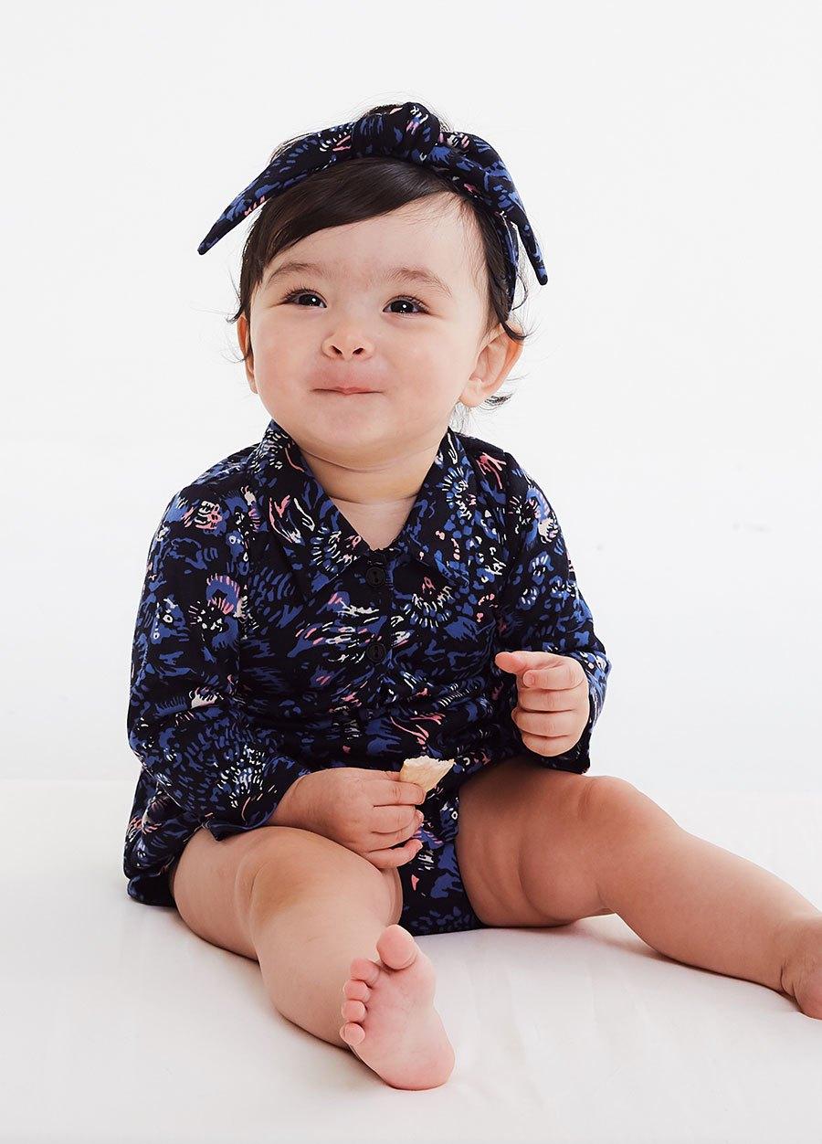 BABY襯衫式印花包屁洋裝