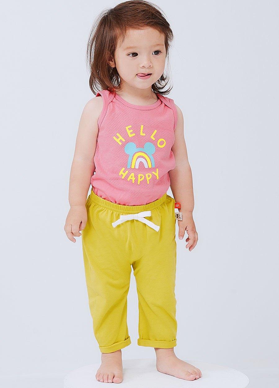 嬰幼兒Q彈棉質反摺長褲-素色/星星
