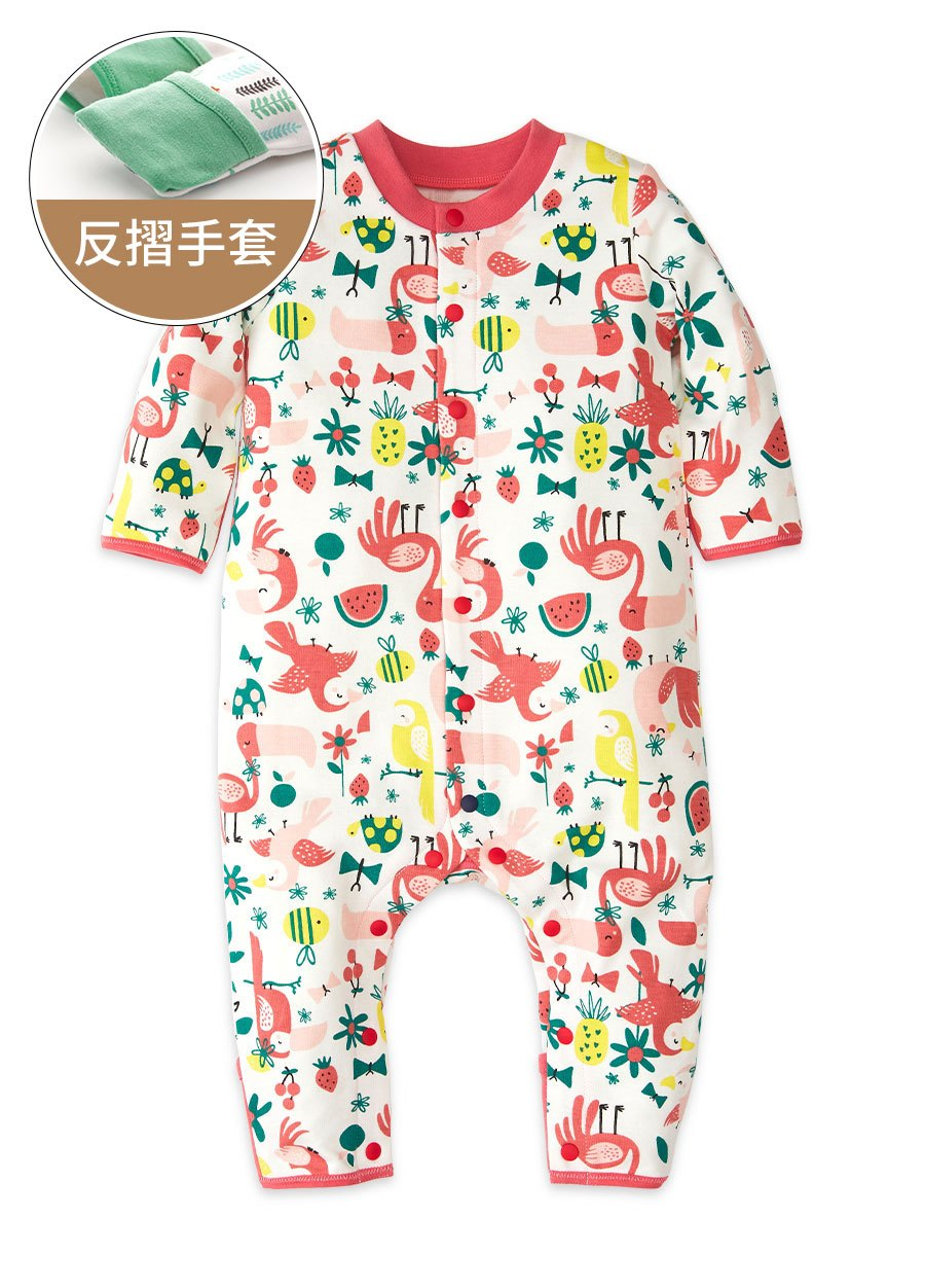 新生兒 長袖連身衣-動物園/熱帶雨林