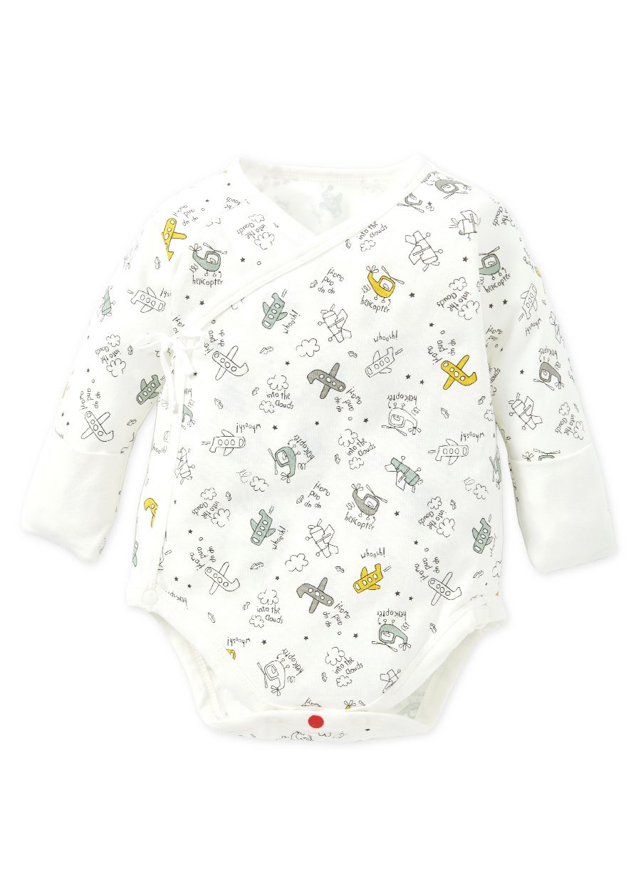 新生兒Q彈棉質長袖包屁衣(2入)-飛機