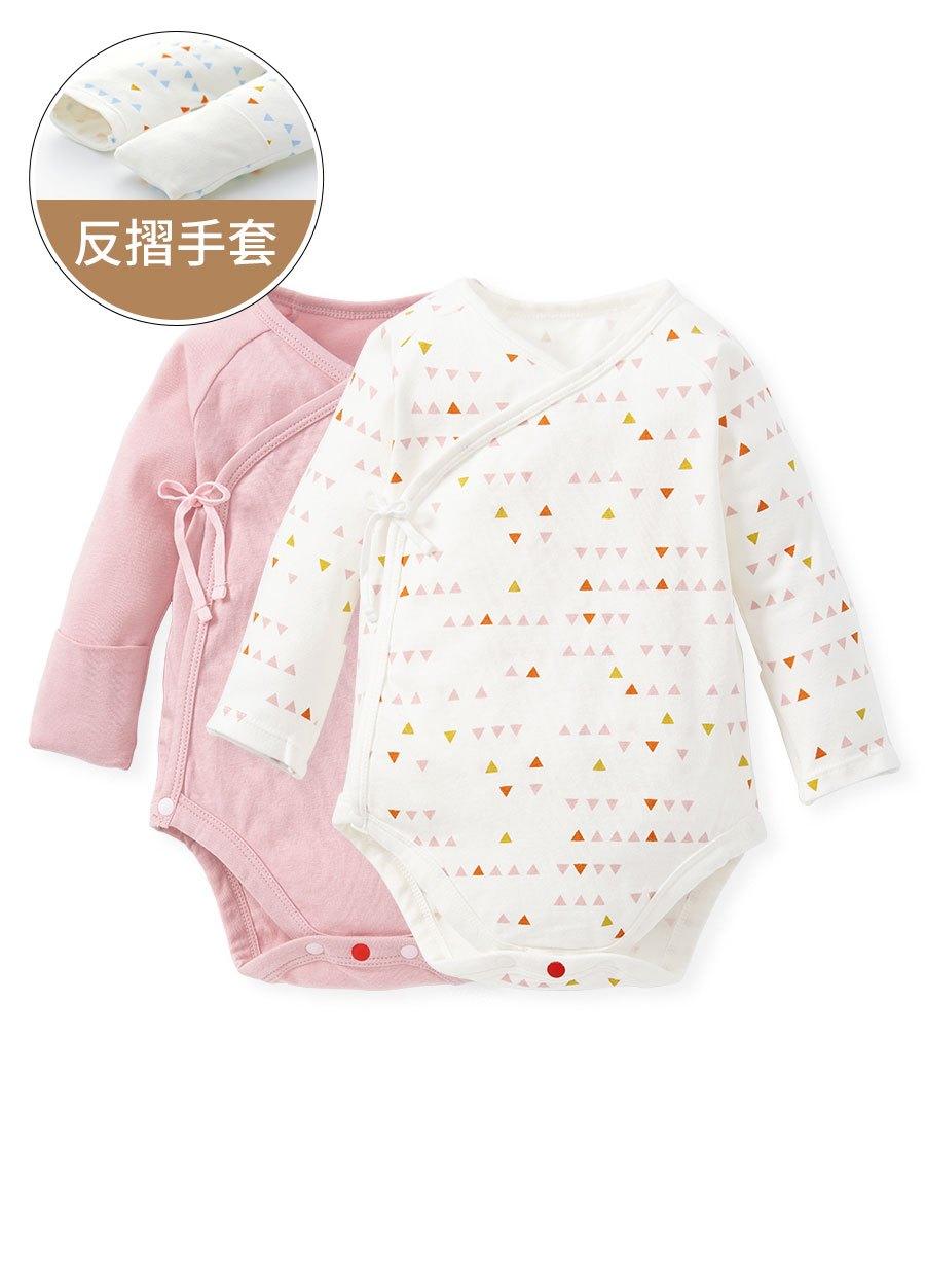 新生兒Q彈棉質長袖包屁衣(2入)-幾何三角