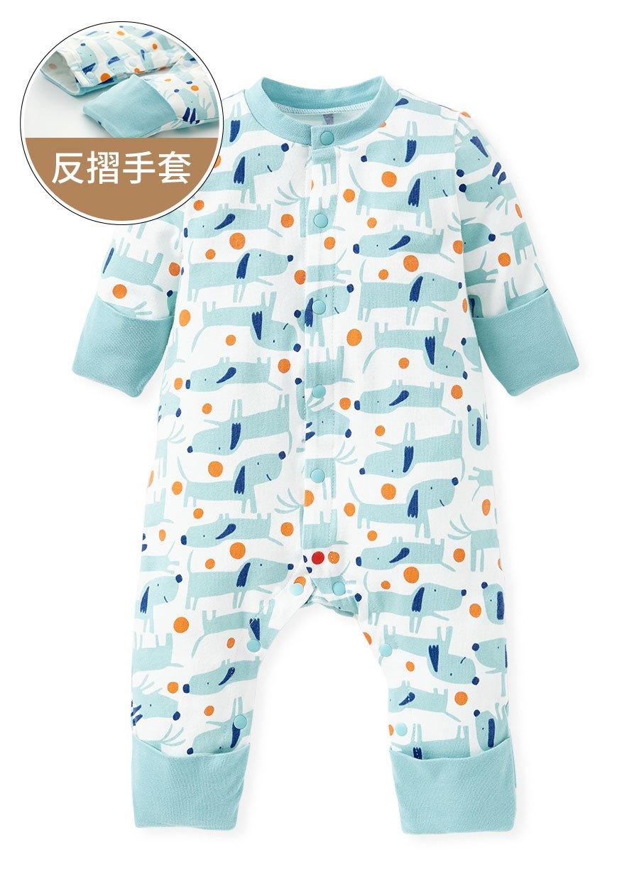 新生兒長袖連身衣-狗狗