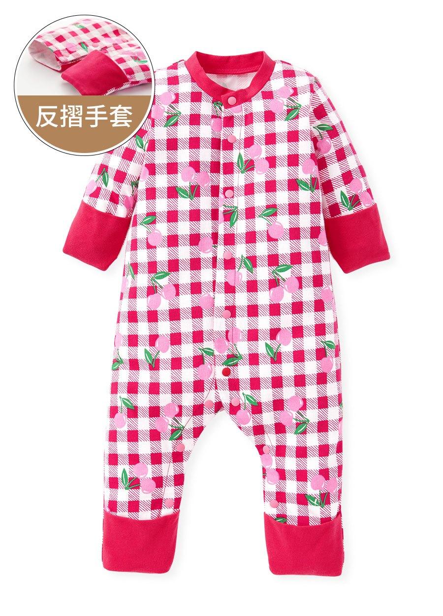新生兒格紋櫻桃長袖連身衣