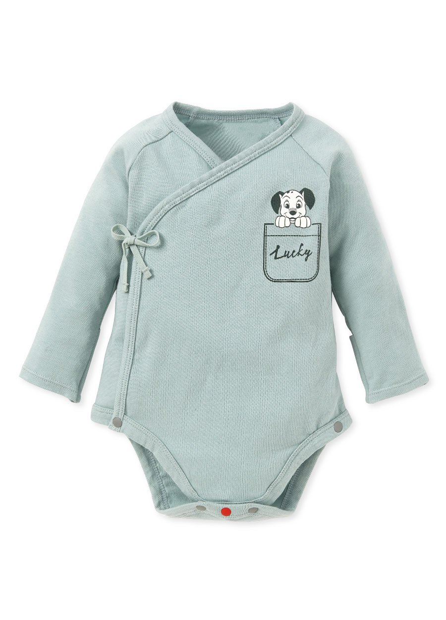 新生兒Q彈棉質長袖包屁衣(2入)-點點貓狗