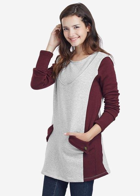 色塊內刷毛長版孕婦裝.哺乳衣