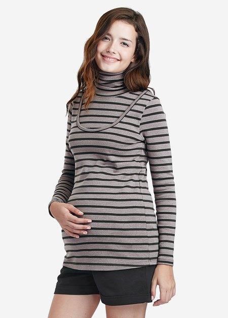 高領橫紋孕婦裝.哺乳衣