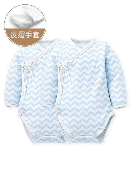 水波紋新生兒內著包屁衣(二入組)