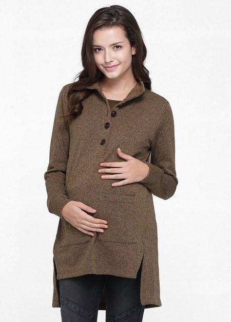 下擺開岔毛衣造型孕婦裝.哺乳衣