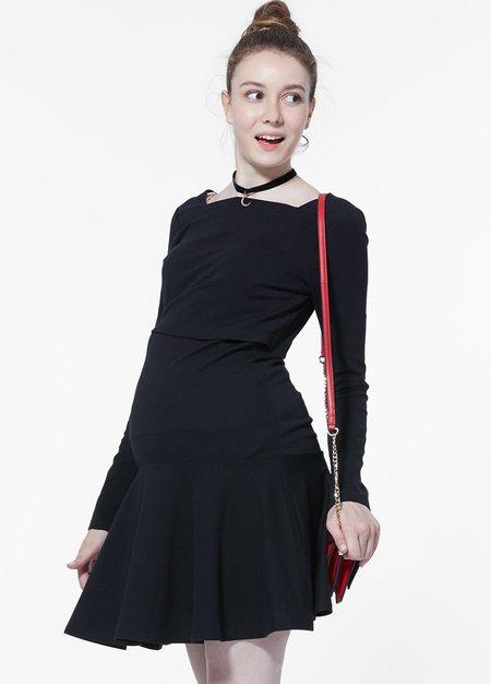 方形領俏麗圓裙孕哺洋裝