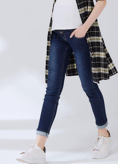孕期彈力修身牛仔褲