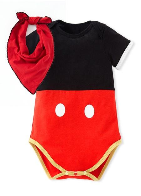 迪士尼米奇造型包屁衣(附領巾)