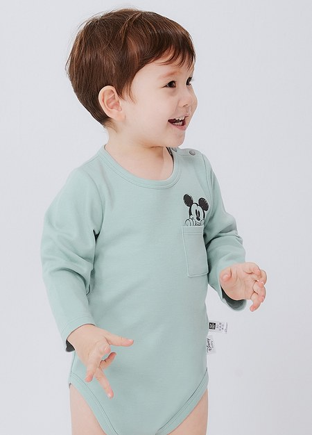 BABY迪士尼純棉長袖包屁衣-米奇