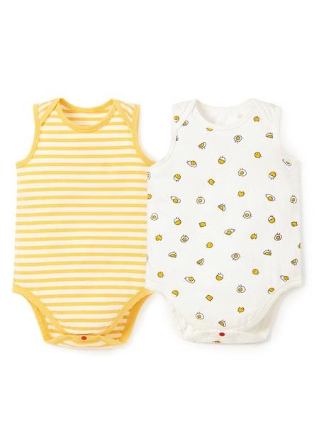 BABY Q彈棉質無袖包屁衣(2入)-蛋黃