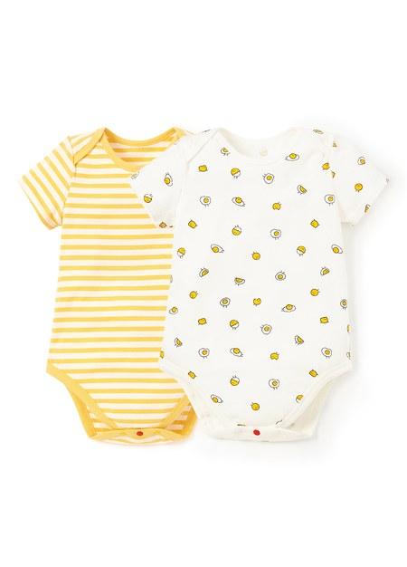 BABY Q彈棉質包屁衣(2入)-蛋黃