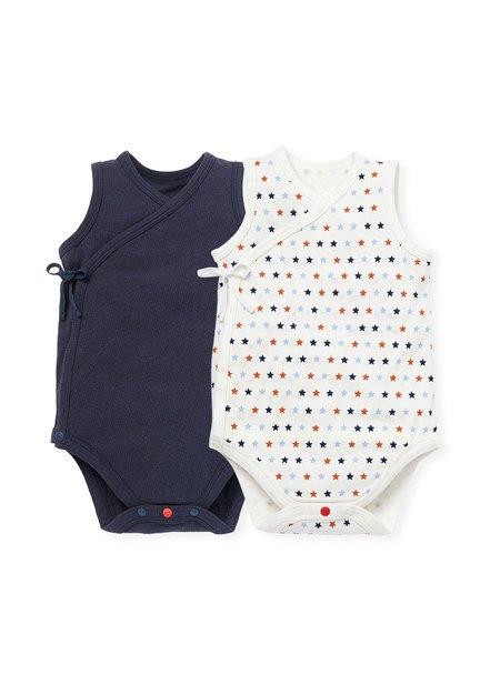 新生兒Q彈棉質無袖包屁衣(2入)-星星