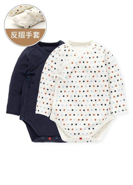 新生兒 Q彈棉質長袖包屁衣(2入)-星星