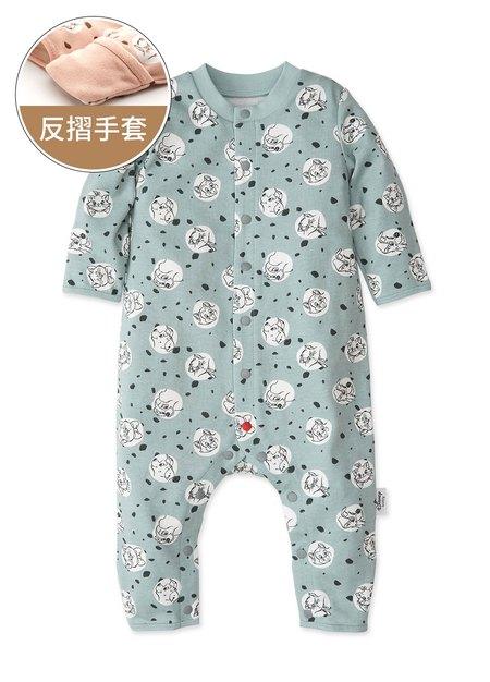 新生兒長袖連身衣-點點貓狗