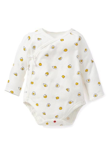 新生兒Q彈棉質長袖包屁衣(2入)-蛋黃