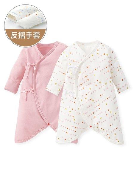 新生兒Q彈棉質蝴蝶衣(2入)-幾何三角