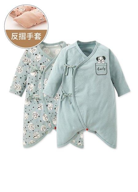 新生兒Q彈棉質蝴蝶衣(2入)-點點貓狗