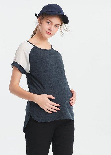 異材質色塊剪接孕哺上衣