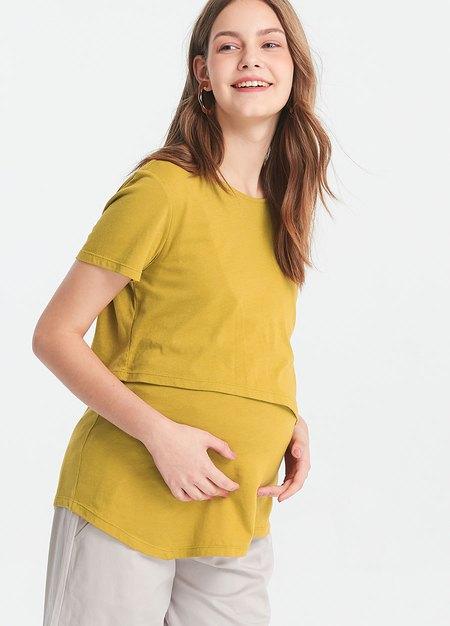 剪接斜下擺孕哺上衣