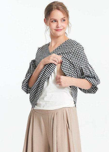 格紋孕哺平織衫2件組(哺乳背心+外罩衫)