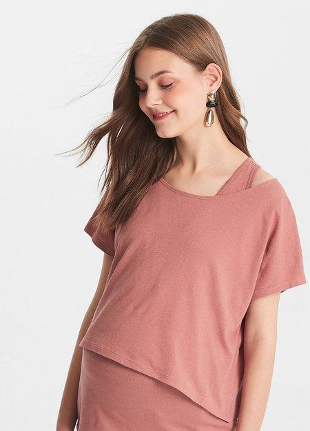 不對稱孕哺上衣2件組(哺乳背心+外衣)