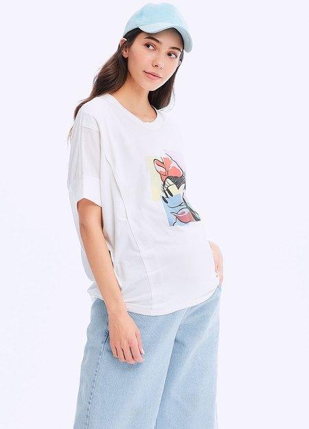 迪士尼色塊米妮剪接孕哺罩衫