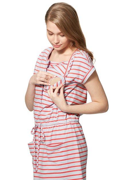 橫條抽繩孕婦洋裝.哺乳洋裝