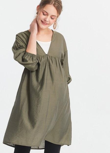 燈籠袖平織孕哺洋裝2件組(哺乳背心+外罩衫)