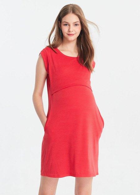 隱形橫紋孕哺洋裝