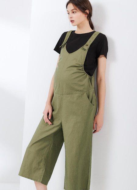 棉麻吊帶孕婦寬褲