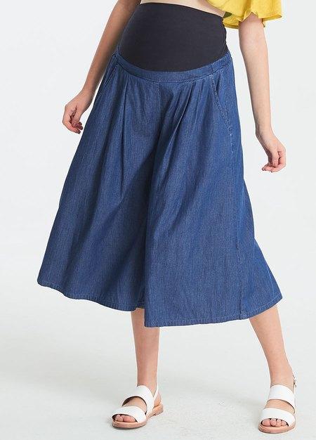 涼爽寬版輕牛仔孕婦褲