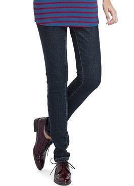 孕期厚刷毛窄管牛仔褲
