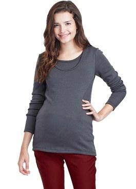 厚刷毛圓領長版孕婦裝.哺乳衣