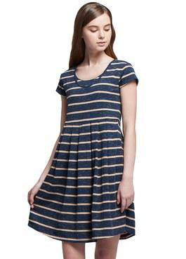 雙圓花紗條紋孕哺洋裝