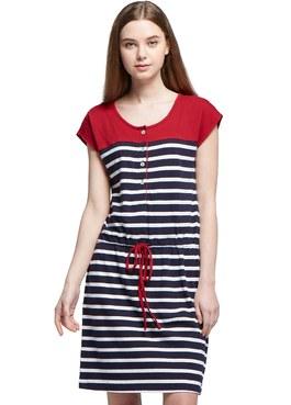 棉質色條拼接抽繩長版孕哺洋裝