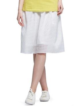 孕期時尚平織格紋中長裙