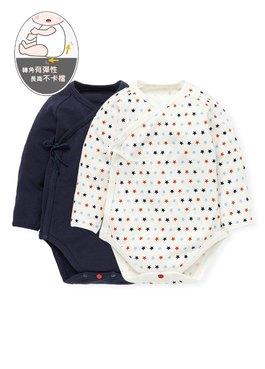 新生兒Q彈純棉長袖包屁衣(2入)-星星