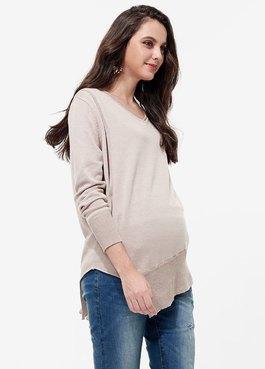 V領針織長版孕哺上衣