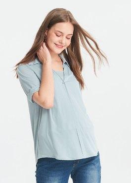 冰絲涼感V領襯衫五分袖孕哺上衣