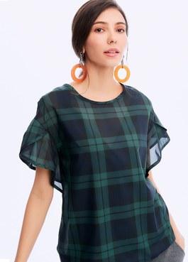 花苞袖哺乳平織衫(2件式)