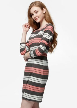 橫紋孕哺洋裝
