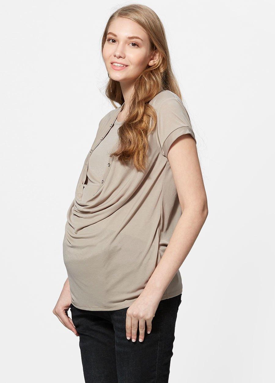 冰絲垂領孕婦裝.哺乳衣