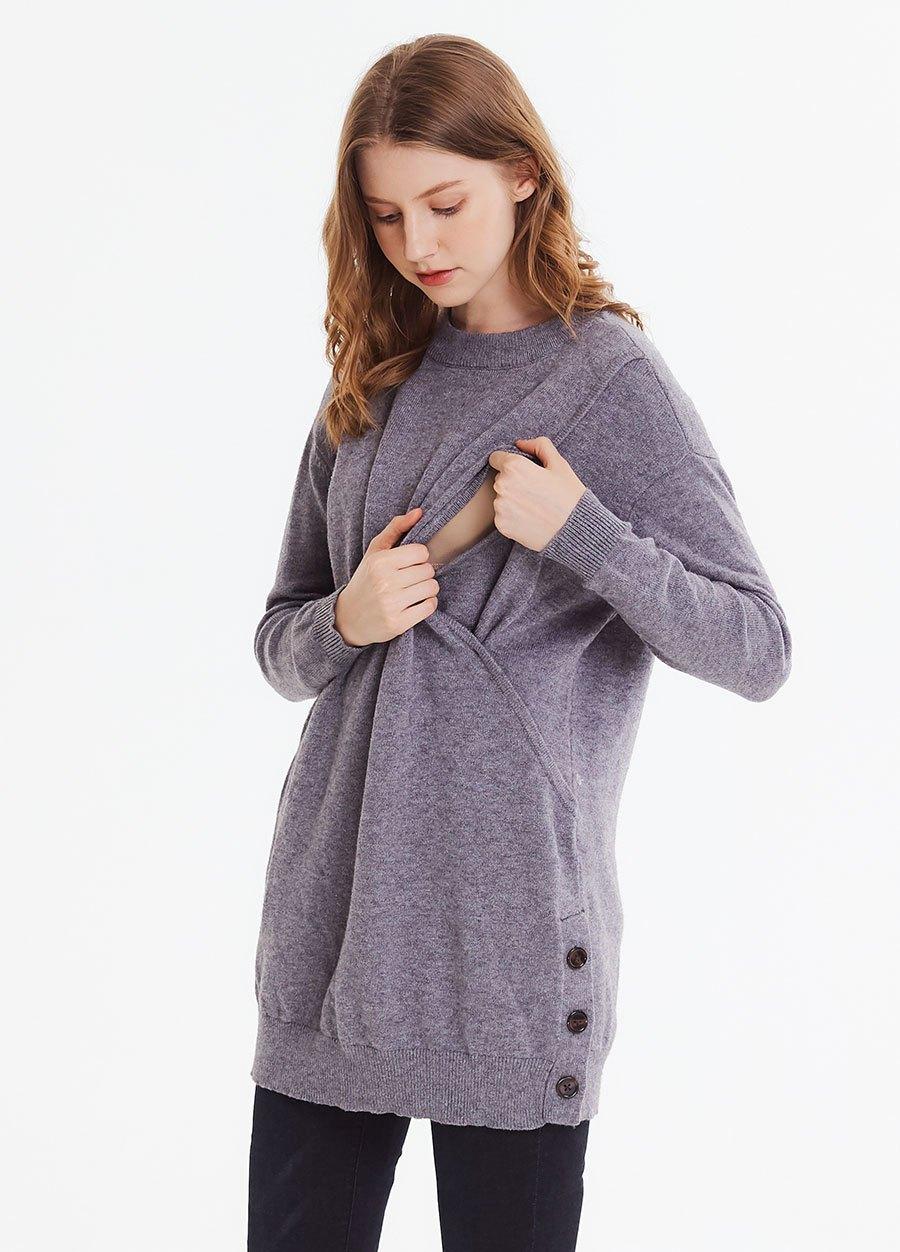 小高領長版孕哺針織衫