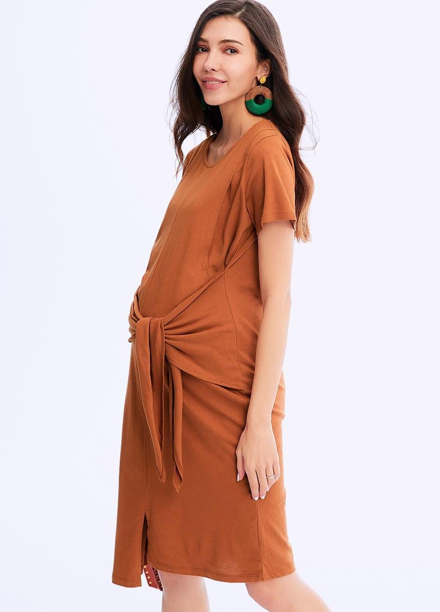 收腰綁帶孕哺洋裝