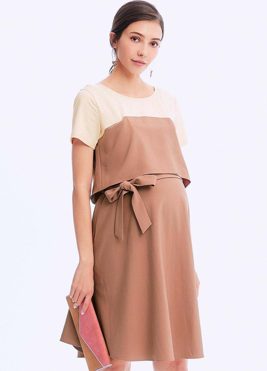 拼接綁帶孕哺洋裝